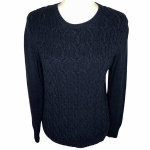 Tommy Hilfiger Cable Knit Sweater Navy Crew Neck